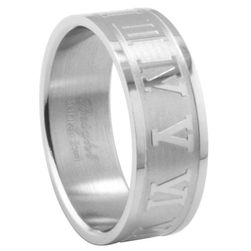 JewelryVolt Stainless Steel Ring Roman Numerals Casted Polished & Unpolished Flat Fit Band (Embossed A ()