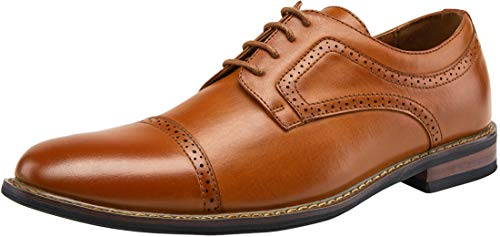JOUSEN Men's Oxford Cap Toe Brogue Formal Dress Shoes (11.5,Brown)