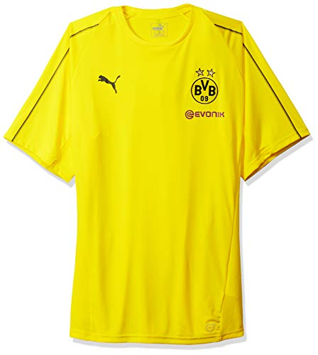 PUMA Men's BVB Training Jersey with Sponsor Logo, F Cyber Yellow, L - Borussia Dortmund Shirt