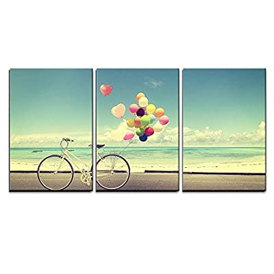 Bicycle with Balloons on Beach - Canvas Art Wall Decor-24 x36 x3 Panels