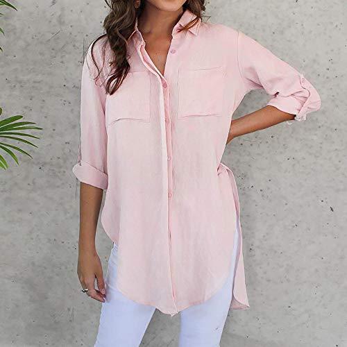 T Dames Hiver Ruffle Couleur Shirt Rose Automne Front Womens Chemisier Casual Femmes Bureau Manches de Fourchette Occasionnel Shirt Longues Ouverte Pleine qTYzwROE