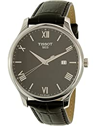 Men's 'Tradition' Swiss Quartz Stainless Steel and Leather Dress Watch, Color:Black (Model: T0636101605800)