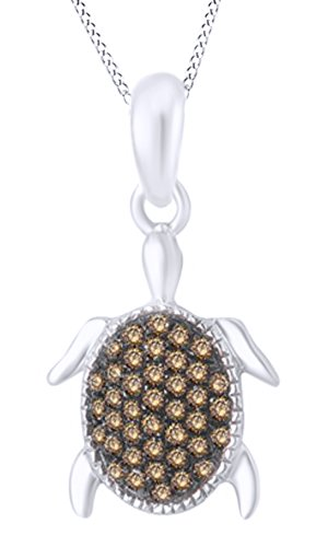round-cut-champagne-natural-diamond-turtle-pendant-necklace-in-10k-white-gold-1-8-cttw