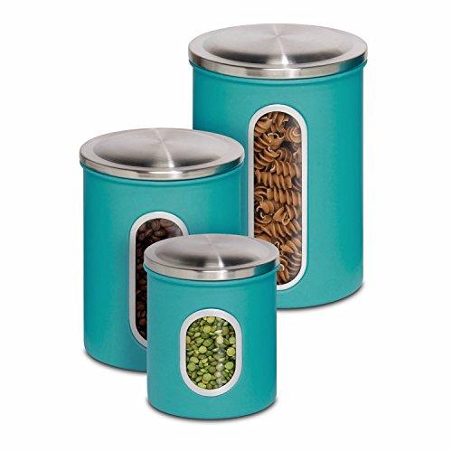 Honey-Can-Do KCH-01312 3-Piece Metal Nested Canister Storage Set, Blue