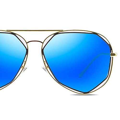 de WLHW femenina frame gray Gun Gafas polarizada brillantes Versión sol coreana Gold redonda frame sol Gafas de Gafas Color Estilo de de Gafas Harajuku Retro sol sol de UV blue Cara pqYFqUrw