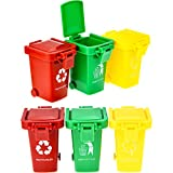 TecUnite 6 Pieces Kids Toy Push Vehicles Garbage Cans Mini Truck's Trash Cans