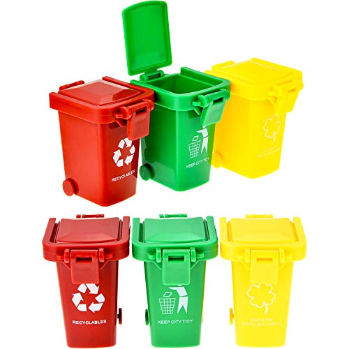 TecUnite 6 Pieces Kids Toy Push Vehicles Garbage Cans Mini Truck's Trash Cans ()