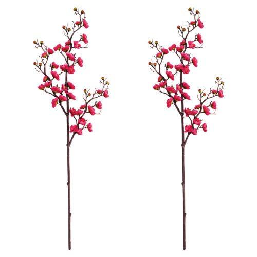 FidgetFidget 2pcs Artificial Flowers Plum Blossom Stems Silk Fake Flower Home Wedding Decor Rose red -