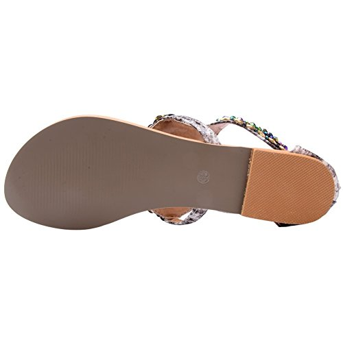 Rhinestone Beaded Bohemian Sandals Womens Beige D2C Flat Summer Beauty wq1XI4