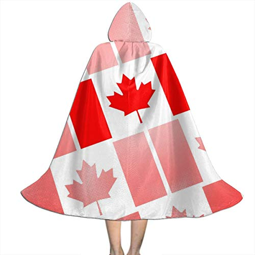 Abstract Halloween Costume Ideas (Kids Hooded Cloak Cape Halloween National Flag of Canada Day Abstract Dotted Party Cosplay Costume)