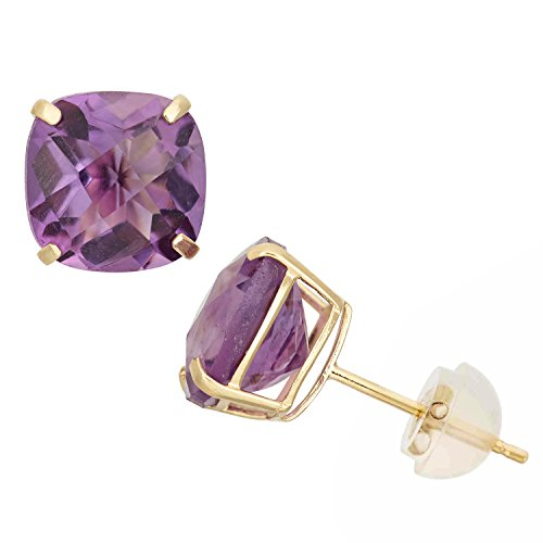 - Amethyst Cushion-Cut Stud Earrings in 10K Yellow Gold, 8x8mm, Comfort Fit