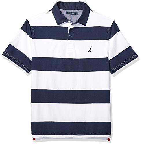Mens Stripe Shirt Classic (Nautica Men's Classic Fit Short Sleeve 100% Cotton Rugby Stripe Polo Shirt, Bright White, Large)
