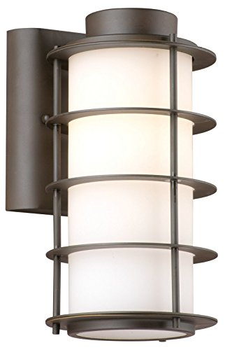 Forecast Lighting F8497-68 Hollywood Hills One-Light Exterior Wall Light with Etched White Opal Glass, Deep Bronze -