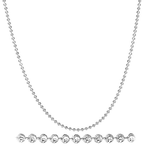 (NYC Sterling Diamond Cut Italian 2mm Moon Cut Bead Chain in Solid Sterling Silver (22, Sterling-Silver))