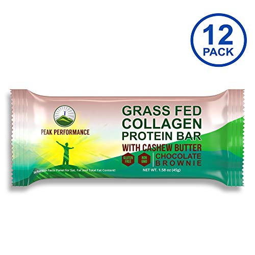 Grass Fed Collagen Protein Bar by Peak Performance. Delicious Paleo and Keto Friendly Snack with Organic Cashew Butter. Clean, Non GMO, Gluten Free Chocolate Bars. A Perfect Primal Treat! 12 Pack