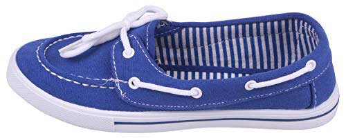 Loafer Boat Casual Enimay Style Royal Canvas Original on Blue Slip Women's Shoe Flats n0w0UqS