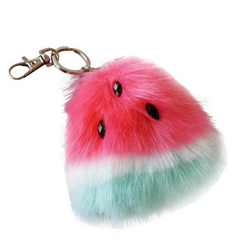 Iuhan Watermelon Rabbit Fur Ball Keychain Bag Plush Car Key Ring Car Key Pendant (Hot Pink)