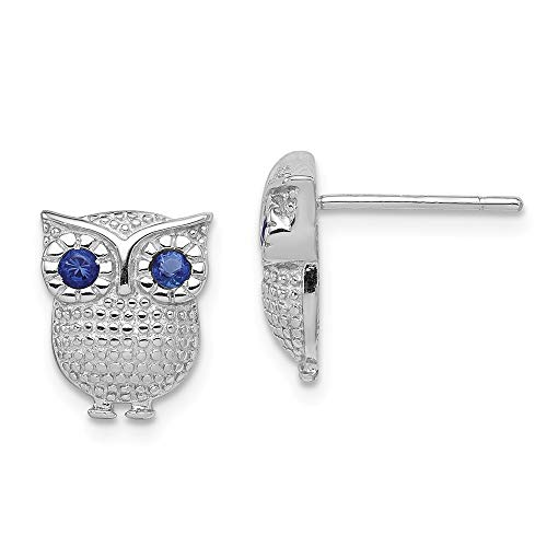 925 Sterling Silver Blue Synthetic Sapphire Owl Post Stud Earrings Animal Bird Fine Jewelry Gifts For Women For Her