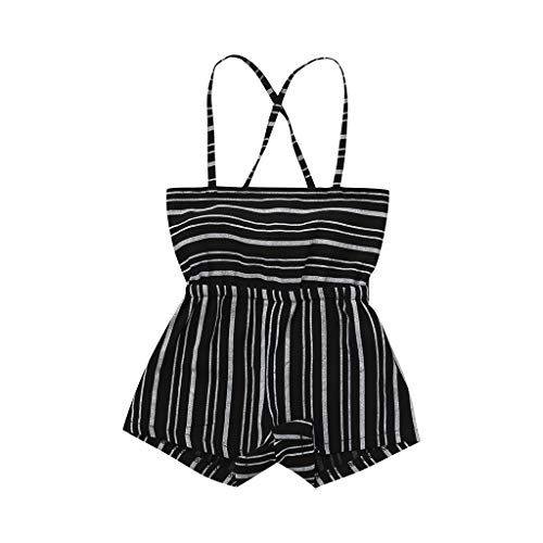 UCQueen Baby Girl Clothes Summer Toddler Kids Sleeveless Striped Backless Romper Jumpsuit Bodysuit Outfit Sunsuit Black