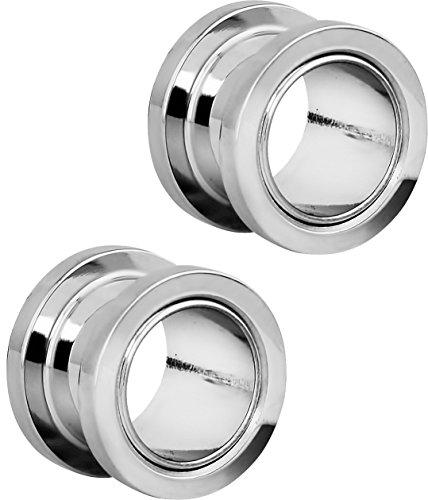 Set of 7/16 Inch Surgical Steel Ear Gauges Screw Fit Tunnels, 11mm Tunnel Plug Earrings ()