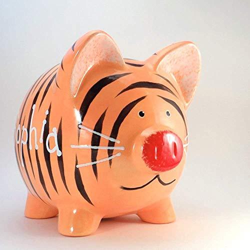 (Tiger Personalized Piggy Bank Ceramic Animal Jungle Decor)