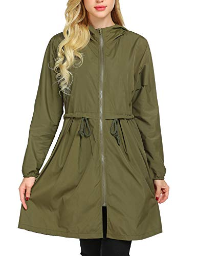 Mofavor Women's Hooded Long Sleeve Lightweight Waterproof Rain Jacket Raincoat Army Green ()