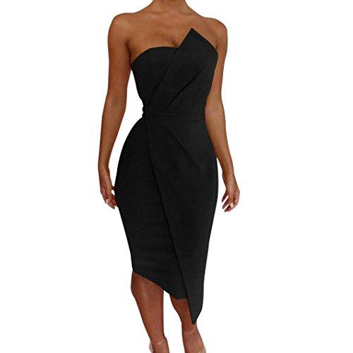 Guesspower Robe Longue Femme Ete Chic Boheme Plage sans Manches Mode Fminine Sexy Hors paule Robe de Soire Avant Robe Asymtrique Robe de Soire 5 Couleur, S-XL(36-42) Noir