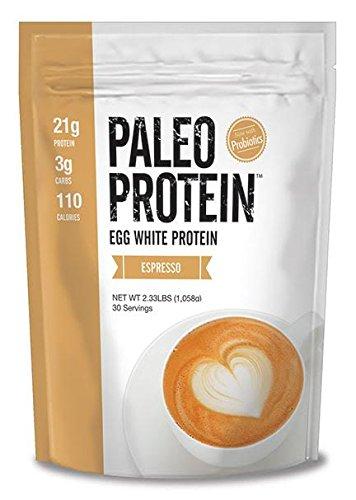 Paleo Protein Powder (Egg White) (Espresso) (2.33lbs) (Soy Free) (100mg Organic Caffeine) w/Monk Fruit