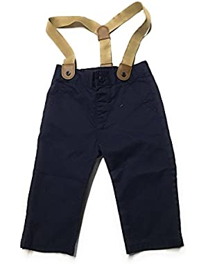 Baby Boys' Navy Pant with Tan Suspenders (6-12 months)