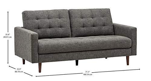 "Rivet Cove Mid-Century Tufted Sofa, 71.7""W, Dark Grey 3"