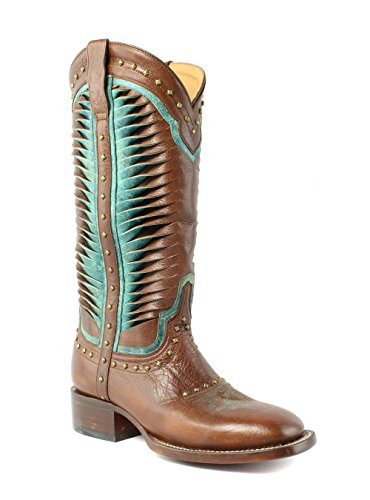 Lucchese Women's Twisted Leather Hsmn Western Boot, Cognac, 7 B US