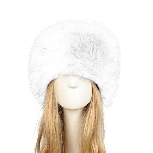 Old DIrd Women's Winter Faux Fur Hat Russian Cossack Style Hat Winter Wrap Hat white