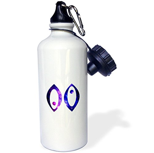 3dRose Pisces Fish Horoscope Symbol-Purple Zodiac Astrological Star Sign-Sports Water Bottle, 21oz (wb_202172_1), 21 oz, Multicolored