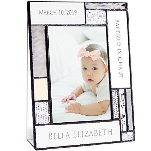 Baptism Gifts for Girls Or Boys Personalized Picture Frame Custom Engraved Glass 4x6 Vertical Photo Grey and Antique Yellow J Devlin Pic 392-46V -