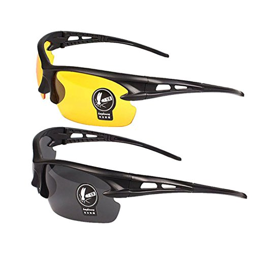 2 Pairs Sunglasses Anti Glare Non-Polarized Stylish Day And Night Vision Glasses best for Men Women Driving Cycling Shooting Hunting Skiing Outdoor Sports - Driving Sunglasses Best For
