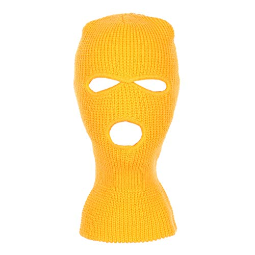 Knitted 3-Hole Full Face Cover Ski Mask (Gold)