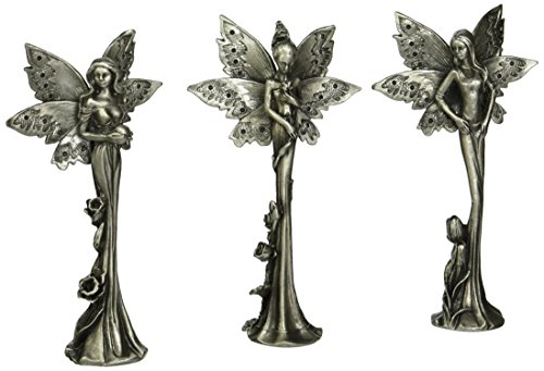 Design Toscano Natures Fairies Sculptural Fine Pewter Collection (Set Includes: Tulip, Daffodil and Rose)