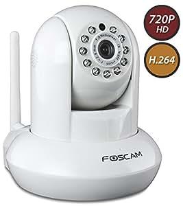 "Foscam FI9821W Indoor Pan/Tilt H.264 720p Wireless IP Camera, 1/5"" Color CMOS Sensor, F: 3.6mm F:2.4 (IR Lens), IEEE 802.11b/g/n Wireless Connectivity, White"