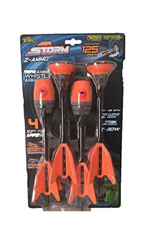 Zing Air Storm Z-Ammo Screaming Whistle Refill Arrows 4 Soft Foam Arrows