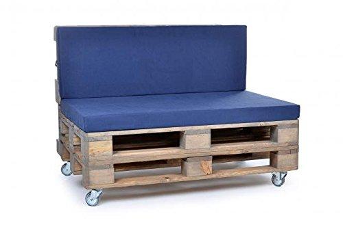 Palettenkissen, Gartenmöbel Auflagen, Sitzbankauflage, Matratzenauflagen auch m. Rückenlehne bzw. Dekokissen, wie Baumwolle, blau, scheuer- und abriebfest, für Loft oder Lounge