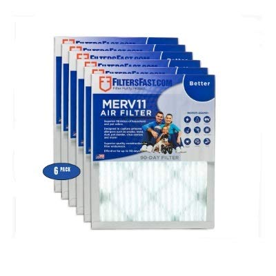 "10"" x 24"" x 1 (Actual Size: 9.75"" x 23 x .75"") 1"" Pleated Air Filter MERV 11-6 pack by Filters Fast"