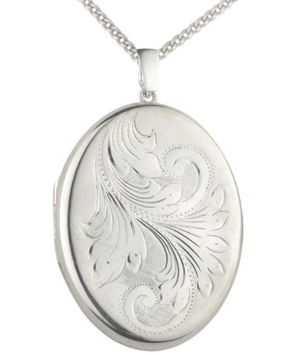 Silver fully engraved extra large oval locket with a diamond cut silver fully engraved extra large oval locket with a diamond cut curb 46cm aloadofball Images