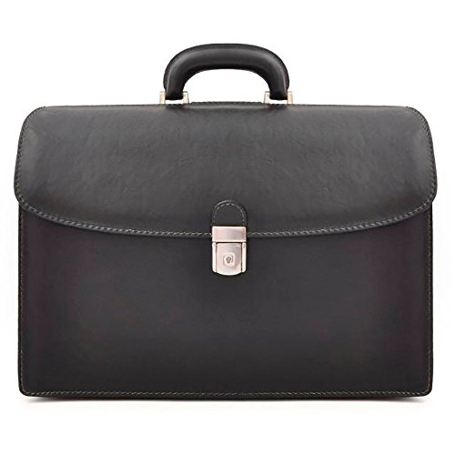 Pratesi Mens [Personalized Initials Embossing] Italian Leather Bruce Leonardo Double Sided Lawyers Laptop Briefcase in Black by Pratesi
