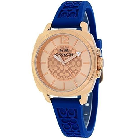 Coach Women's 14502095 Mini Boyfriend Signature Blue Strap Rose Gold Tone Watch (Coach Women Gold Watch)