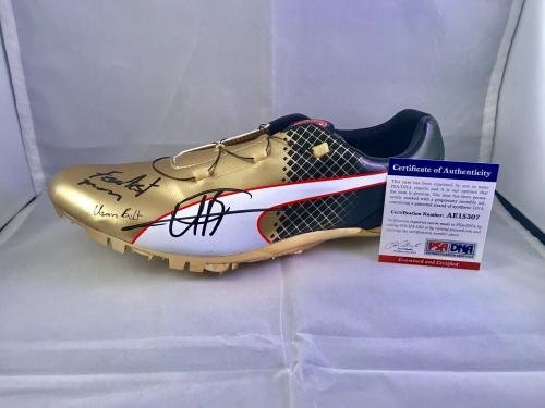 27de8501bf0717 Usain Bolt Signed Official Puma Gold Cleat Shoe Fastest Man Cert - PSA DNA  Certified - Autographed Olympic Products at Amazon s Sports Collectibles  Store