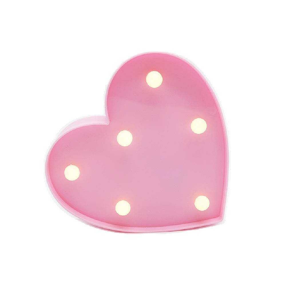 3D Love Heart LED Lamp Light Decorative Night Light Battery Operated Marquee Signs Letter Romantic Night Table Wall Decoration for Party,Kids' Room,Living Room,Bedroom Christmas (Pink)