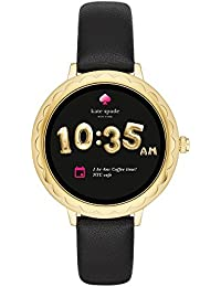 Scallop Touchscreen Smartwatch, Gold-tone Stainless Steel, Black Leather Strap, 42mm, KST2001
