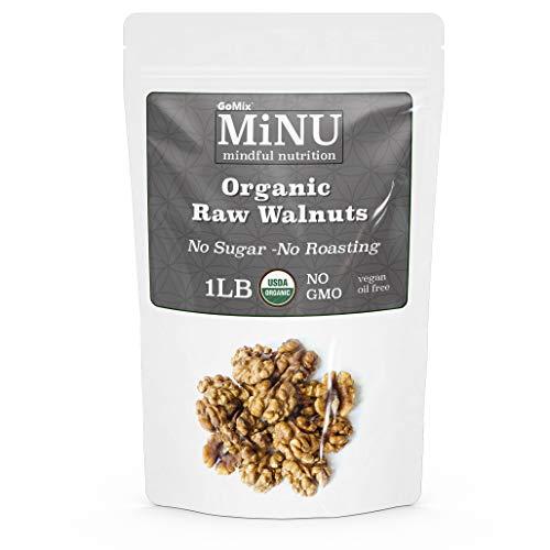 GoMix Raw Certified USDA Organic Walnuts, #1 Keto Paleo Snack, 16 oz (1 lb), Unsalted Superfood, Protein, Vegan, NonGMO, Gluten Free. No Salt, No Roasting, No Nonsense!
