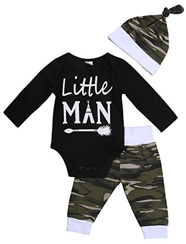 3PCS Newborn Baby Boys Cute Letter Print Romper+Camouflage Pants+Hat Outfits Set (0-6 M, Little Man) Baby Clothing
