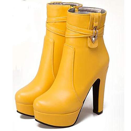 ZHZNVX Damen Stiefel Schuhe PU Herbst & Winter Stiefelie Stiefel Damen Chunky Heel Runde Zehe Stiefelies Stiefeletten Weiß Schwarz   Gelb Party & Abend 680ed8